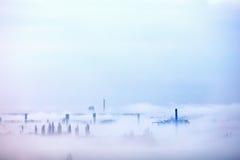 Heavy morning mist over the city. Uzhhorod, Ukraine Royalty Free Stock Images