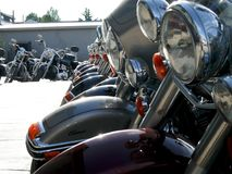 Heavy motorcycles are lined up stock images