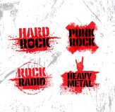 Heavy Music Rough Grunge Vector Design Elements On Stained Wall Background. Paint Texture Illustration Concept.  Stock Photos