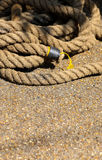 Heavy old rope on the street Royalty Free Stock Photo