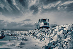 Heavy pick-up truck in rough terrain Royalty Free Stock Images