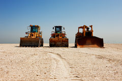 The heavy plant has arrived in the desert Royalty Free Stock Image