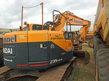 Heavy plant lorries. Photo of heavy plant earthwork earthmovers lorries working on coastline defence measures in whitstable kent oct 2017 Stock Image