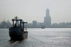 Heavy Pollution Blankets Kaohsiung City. View from the harbor at the heavily polluted Kaohsiung City skyline Royalty Free Stock Photography