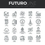 Heavy and Power Industry Futuro Line Icons Set Stock Images