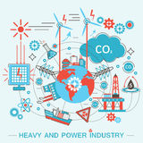 Heavy and power industry infographics template. Modern graphic design Flat line Concept  Royalty Free Stock Images