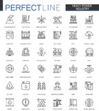 Heavy power industry thin line web icons set. Factory and renewable energy Outline stroke icons design. Heavy power industry thin line web icons set. Factory royalty free illustration