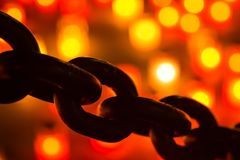Abstract bokeh of chain of lights for backdrop Royalty Free Stock Image