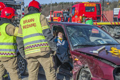 Fire and rescue service breaks up damaged car, photo 32 Stock Photo