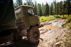 Heavy powerful truck-terrain vehicle with off-road wheels Royalty Free Stock Image