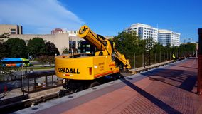 Heavy rail equipment. A Gradall machine being used in track repair during WMATA Safetrack Surge 7, Rockville Maryland, August 19, 2016 stock photography