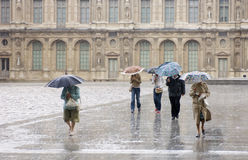 Heavy Rain At The Louvre Stock Photo