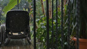 Heavy rain on the backyard with palm trees and sunbed stock footage