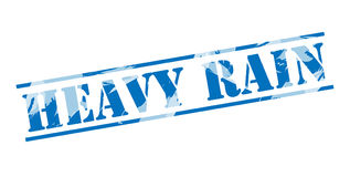 Heavy rain blue stamp stamp. Isolated on white background Stock Photos