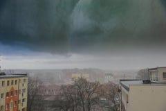 Heavy rain in the city Stock Image