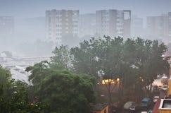 Heavy rain in city Royalty Free Stock Image