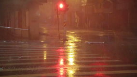 Heavy rain on city street, slow motion. Heavy rain and wind in city during Typhoon Souledor, Taiwan, August 2015 stock video footage