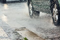 Heavy rain in the city Royalty Free Stock Image