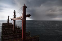 Storm is approaching to cargo ship royalty free stock photo