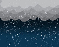 Heavy rain in dark sky, vector Royalty Free Stock Photo
