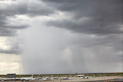 Heavy rain in Denver airport Stock Image