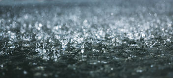 Heavy rain. Drops of heavy rain on water Royalty Free Stock Image