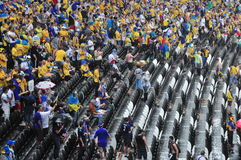 Heavy rain drove all the fans from the stands Royalty Free Stock Images
