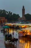 Heavy rain in the evening. Morocco, Djemaa el Fna Royalty Free Stock Photo