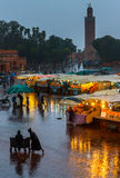 Heavy rain in the evening. Morocco, Djemaa el Fna Royalty Free Stock Images