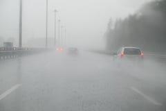 The Heavy rain. Heavy rain on the expressway stock photos