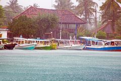 Heavy rain fall during the monsoon on Gili Meno island in Indone. Sia Asia Royalty Free Stock Photography