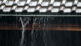 Heavy rain on a roof. Heavy rain falling on a roof top and running down in wide streams stock video footage