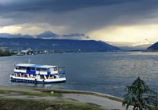 Ferryboat on Danube royalty free stock photos