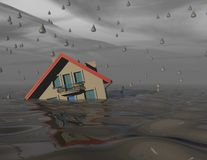 Heavy rain and flood concept with house under water. Heavy rain and flood concept with house under water 3d illustration Royalty Free Stock Photo