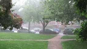 Heavy Rain and Hail Storm in Washington DC in June. Video of hail stones on a walkway in a washington dc neighborhood during a rainstorm in june in spring stock video