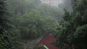 Heavy rain. High angle view from window 2 Stock Photos