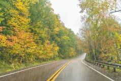 Heavy rain on New England foliage scenario Royalty Free Stock Image