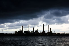 Heavy rain at Oil Refinery Stock Image