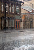 Heavy Rain in Old Town Royalty Free Stock Images
