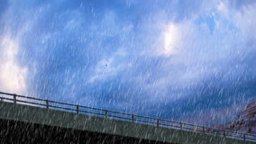 Heavy rain over bridge closeup stock video footage