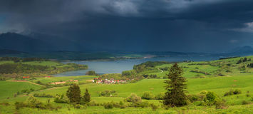 Heavy rain over lake Stock Images