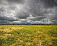 Heavy Rain over a prairie Royalty Free Stock Photography