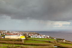 Heavy rain over Relva city, Azores, Portugal Royalty Free Stock Photography
