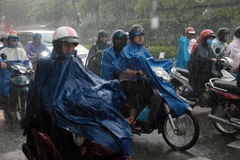 Heavy rain, rainy season at Ho Chi Minh city Stock Images