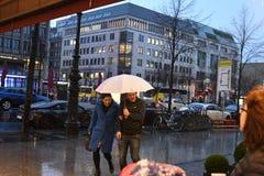 HEAVY RAIN spadek W NIEMIECKIM kapitale BERLING zdjęcie royalty free