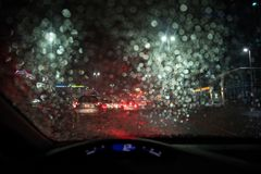 Heavy rain and thunderstorm hit Abu Dhabi and other parts of the UAE in the evening. November 11, 2018: Heavy rain and thunderstorm hit Abu Dhabi and other parts stock photos