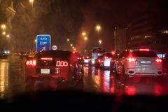 Heavy rain and thunderstorm hit Abu Dhabi and other parts of the UAE in the evening. November 11, 2018: Heavy rain and thunderstorm hit Abu Dhabi and other parts stock images