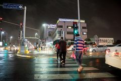 Heavy rain and thunderstorm hit Abu Dhabi and other parts of the UAE in the evening. November 11, 2018: Heavy rain and thunderstorm hit Abu Dhabi and other parts stock photography