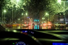 Heavy rain and thunderstorm hit Abu Dhabi and other parts of the UAE in the evening. November 11, 2018: Heavy rain and thunderstorm hit Abu Dhabi and other parts royalty free stock image