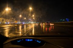 Heavy rain and thunderstorm hit Abu Dhabi and other parts of the UAE in the evening. November 11, 2018: Heavy rain and thunderstorm hit Abu Dhabi and other parts royalty free stock images